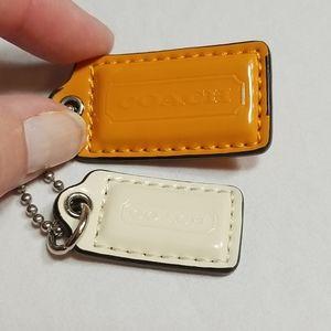 Coach Key Ring Tags Orange and Creme
